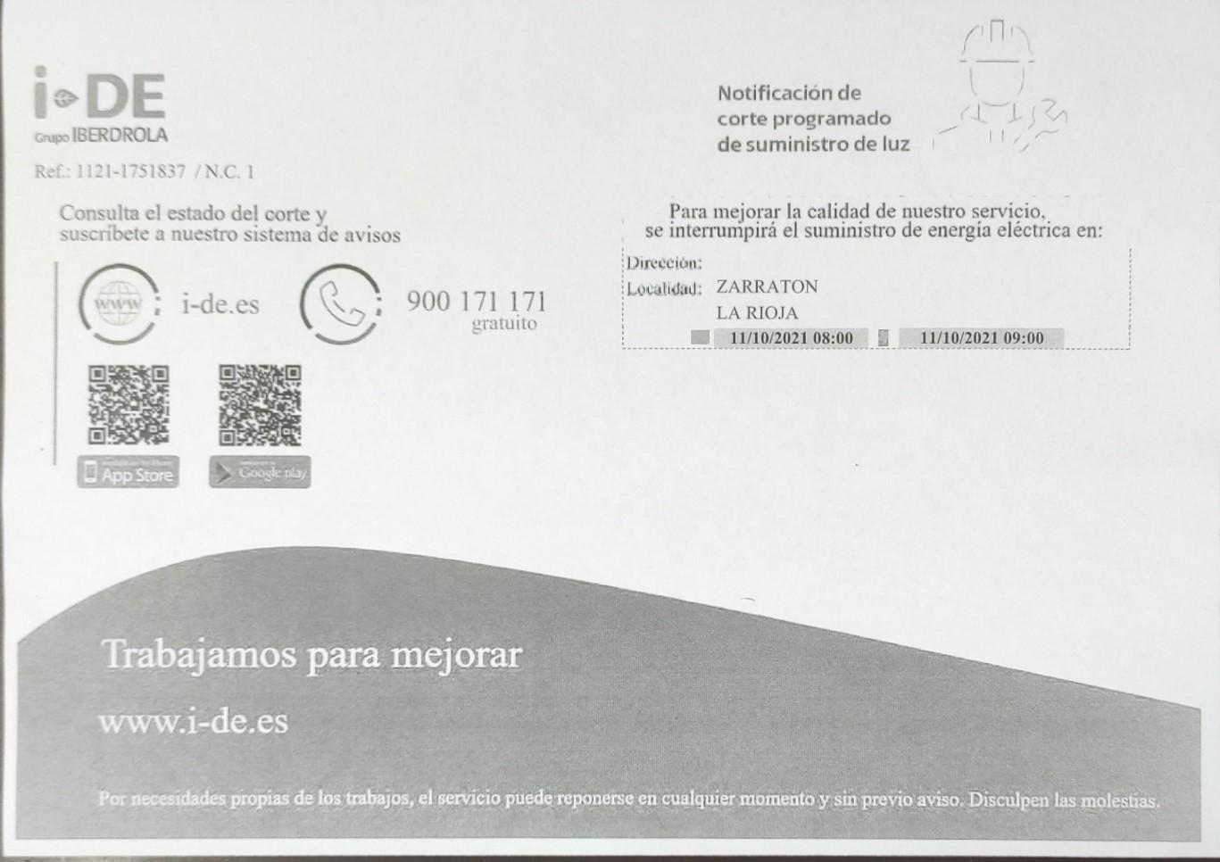 Notificación de corte programado de suministro de luz
